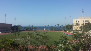 The American University of Beirut Athletic Field overlooking the Mediterranean Sea