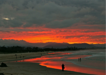 Sunset on fire at Byron Bay.